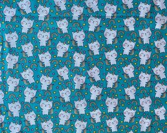 Kitty Unicorn Fabric - Unicorn Kitty Fabric - Rainbow Fabric - By the 1/4 Yard - Quick Shipping - Perfect for Mask Making