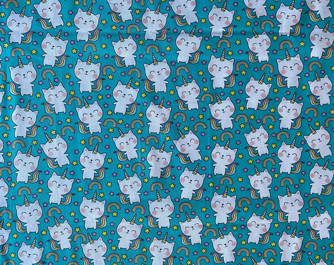 Kitty Unicorn Fabric - Unicorn Kitty Fabric - Rainbow Fabric - By the 1/4 Yard - Quick Shipping - Perfect for Mask Making