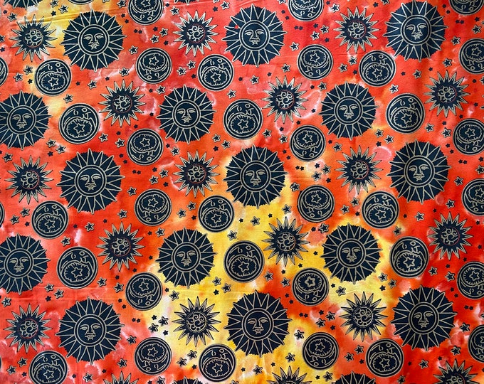 Sun and Moon Batik Fabric - Sun Batik Fabric - Moon Batik Fabric - By the 1/4 Yard - Quick Shipping - Perfect for Mask Making