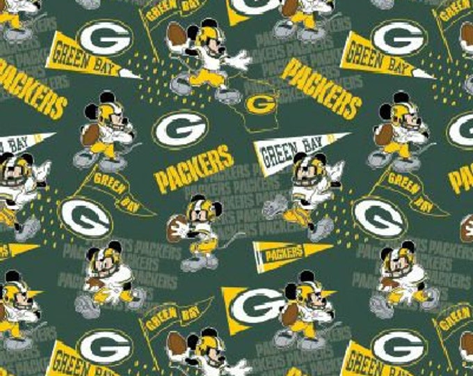 Green Bay Packers Fabric - Mickey Mouse Fabric - By the 1/4 Yard - Quick Shipping ** LIMITED EDITION **