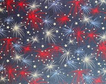 Blue Stars Fabric - Fireworks Fabric - Patrotic Fabric - By the 1/4 Yard - Quick Shipping - Perfect for Mask Making