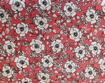 Coral Floral Fabric  - By the 1/4 Yard - Quick Shipping - Perfect for Mask Making