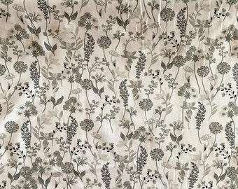 Vine Floral Fabric - Gray Fabric - By the 1/4 Yard - Quick Shipping - Perfect for Mask Making - 100% Cotton Fabric