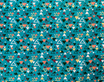 Triangle Fabric - Teal Fabric By the 1/4 Yard - Quick Shipping -  100% Cotton