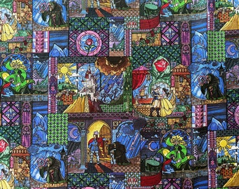 Beauty and the Beast Fabric - Disney Fabric -  By the 1/4 Yard - Quick Shipping - Disney Princess Fabric - Stained Glass Fabric
