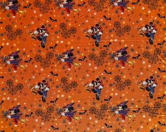 Mickey Halloween Fabric - Minnie Mouse Halloween Fabric - Trick or Treat Fabric - By the 1/4 Yard - Quick Shipping - Perfect for Mask Making