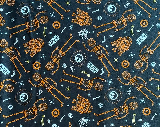 Star Wars Fabric - Star Wars Halloween Fabric - By the 1/4 Yard - Quick Shipping - 100% Cotton Fabric - R2-D2 Fabric - C3PO Fabric
