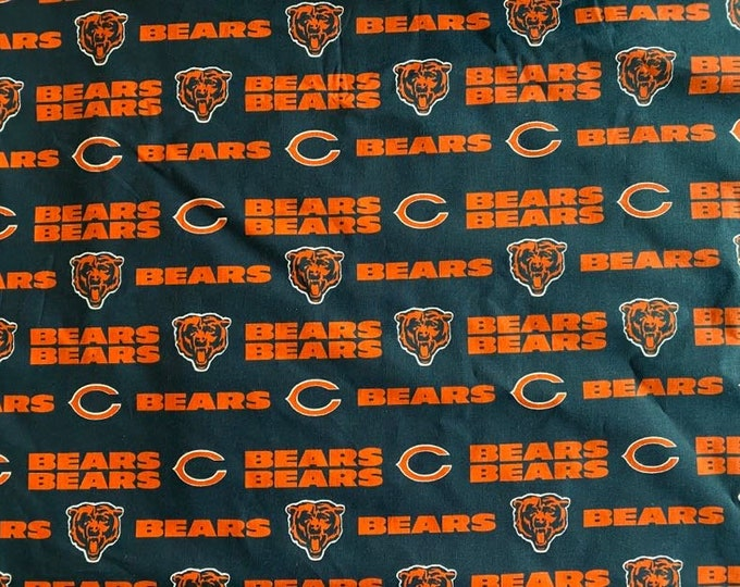Chicago Bears Fabric - By the 1/4 Yard - Quick Shipping - Perfect for Mask Making