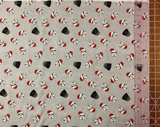 Star Wars Fabric - Darth Vader Fabric  - By the 1/4 Yard - 100% Cotton Fabric - Santa Hats Stormtroopers - Christmas Darth Vader