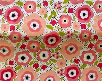 Pink Floral Fabric - Polka Dot Fabric - By the 1/4 Yard - Quick Shipping - Perfect for Mask Making