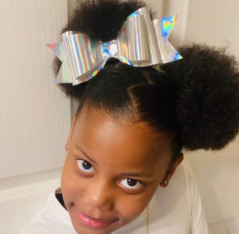 New oversized holographic two layered hair bow