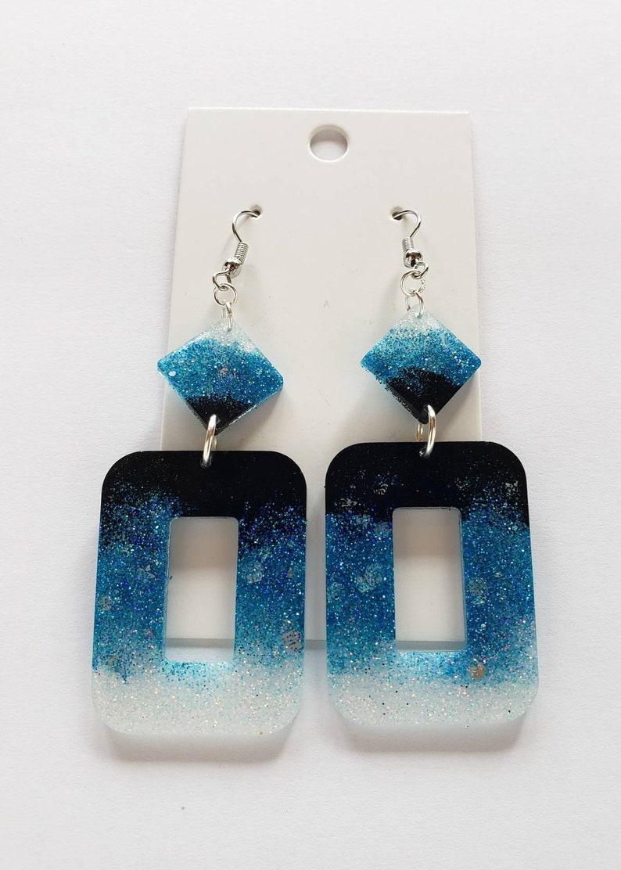 Blue Ombre Glitter Resin Earrings