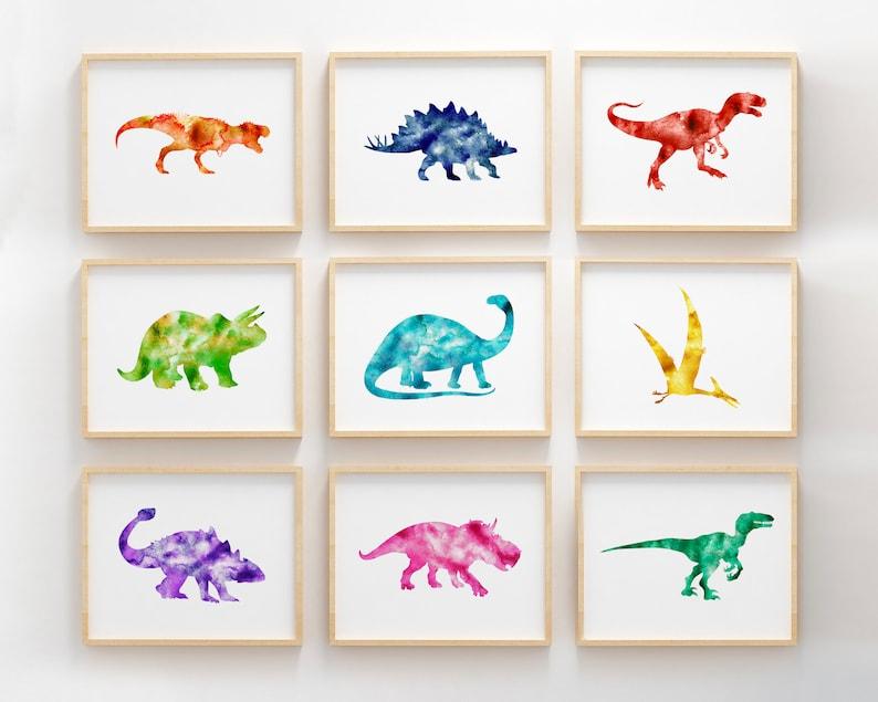 Dinosaur wall art set of 9 prints kids room decor watercolor dinosaur poster printable art dinosaur wall decor dinosaur nursery decor