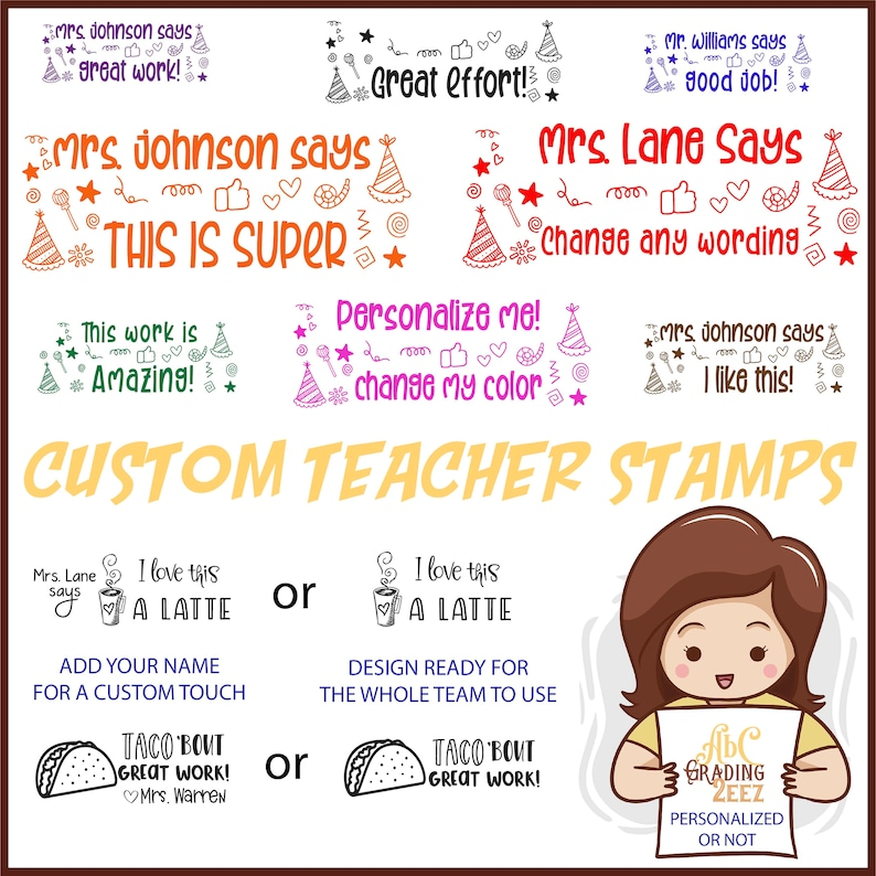 Self Inking Custom Stamp for the Classroom This Work was Checked by Teacher Stamp Personalized with your Name Stamper