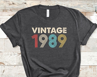 Vintage 1989 Shirt, Distressed Retro Fade, 32nd Birthday, 32nd Birthday Gift, 32nd Birthday Party, 32nd Birthday Shirt, 1989 T-Shirt