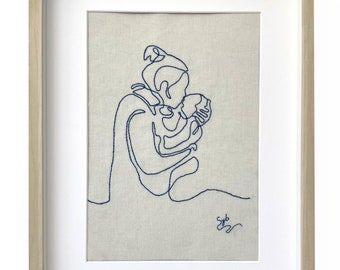 Contemporary embroidery textile painting woman and her child