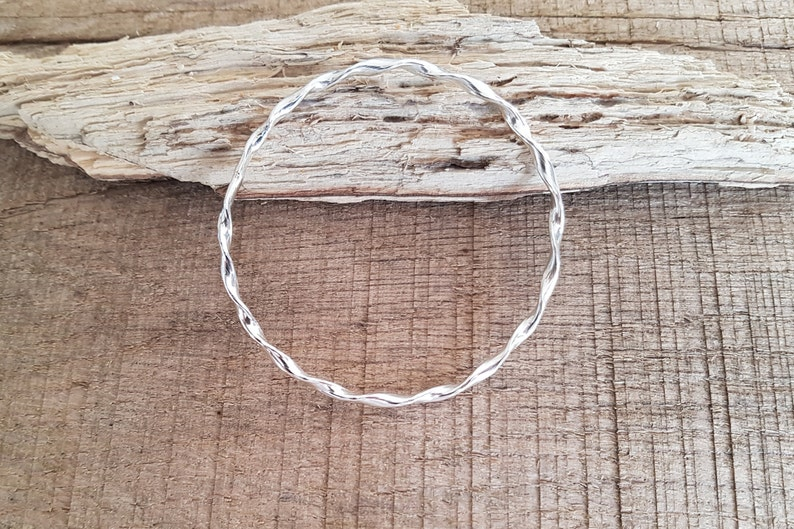 Twist Sterling Silver Bangle Solid Sterling Silver Bangle image 0