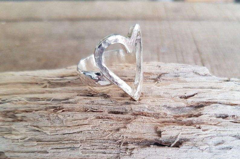 Chunky Sterling Silver Open Heart Ring Handmade Sterling image 0