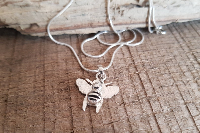 Cute Little Bee Pendant Handmade Sterling Silver image 0