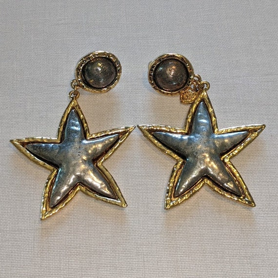 Edouard Rambaud Paris clip-on star dangle earrings