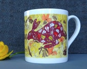 Hare Design Fine Bone China Mug, design from original artwork. Comes as a Boxed Gift.  Printed in the UK