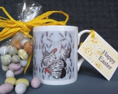 Easter Gift, Fine Bone Mug Chicken Design,  from original artwork . Comes with chocolate mini eggs as a boxed Gift. Printed in the UK.