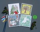 Christmas Cards Pack of 8 . Fine Art Cards Hand Embossed. Printed in the UK