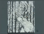 Original Stag Screenprint on Wood, printed on wood particle to add texture, has fixing ready to hang. Hand made in the UK