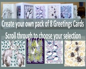 Greetings Cards Multipack.  Mix and Match cards.  Hand embossed Fine Art Cards . Blank inside for all occasions.  Made UK