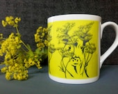 Cow Parsley Design, Fine Bone China Mug . Boxed  Gift. Printed in the UK. From Artist Illustration Cow amongst the Cow Parsley.