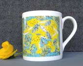 Elephant Design Fine Bone China Mug, design from original artwork. Comes as a Boxed Gift. Printed in the UK
