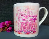 Fine Bone China Mug, Flamingo design from original artwork. Comes as a Boxed Gift. Gift options available.  Printed in the UK