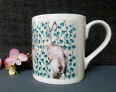 Hares Design Fine Bone China Mug, design from original artwork. Comes as a Boxed Gift, Gift options available. Printed in the UK
