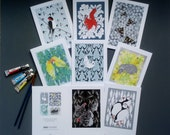 Greetings Cards Pack of 8. Fine art cards hand embossed. Wrapped in biodegradable sleeve. Blank inside for all occasions. Made in the UK