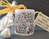 Mother's Day Fine Bone China Hare Design Mug. Comes with Chocolate Caramel Hearts as a boxed gift.  Printed, Designed in the UK