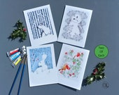 Christmas Cards Pack of 8.  Fine art cards hand embossed. Wrapped in a biodegradable Sleeve. Blank inside .Made UK