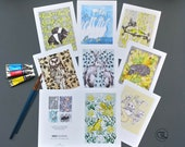 """Greetings Cards pack of 8, Fine Art Hand Embossed, Blank inside for all occasions, 5x7"""" Cards, wrapped in biodegradable cellophane. Made UK"""
