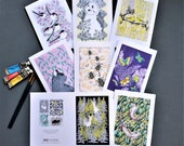 Greetings Cards Pack of 8. Fine art cards hand embossed. Wrapped in biodegradable cellophane wrap. Blank inside for all occasions.Made in UK