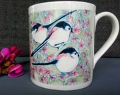 Fine Bone Long Tail Tit Design Mug, Comes as a boxed gift. All printed and Designed in the UK