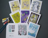 """Greetings Cards Pack of 8, Fine Art Hand Embossed Cards, Blank Inside All Occasions. 5x7"""" card wrapped in biodegradable cellophane. Made UK"""