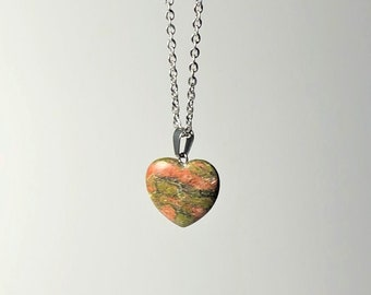 Unakite gemstone teardrop pendant necklace on waxed cord and ribbon necklace
