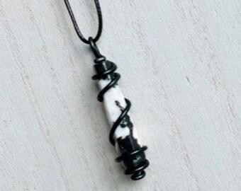 raw zebra jasper necklace unique crystal necklace