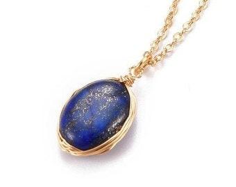 Silver Wire Wrapped ~ Deep Blue Lapis Pendant ~ 120 Carat ~ Oval Shape Cabochon #wiresculptedjewelry #wirewrappedjewelry #sandywhitedesigns