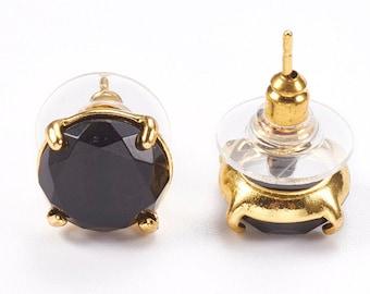 Black Stone Boho Brass Ear Studs Brass Flower Ear Studs Ethnic Earrings Obsidian Stone Ear Studs Tribal Brass Earrings