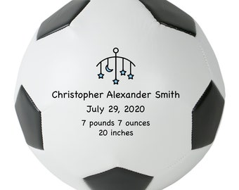 Personalized Soccer Ball Birth Announcement, Baby Girl, Baby Boy, New Dad Mom, Custom Nursery Gift, Father's & Mother's Day, Newborn Gift