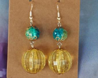Yellow/Green/Blue Beaded Dangle Earrings / Handmade Metal/plastic/glass Beaded Earrings / Gift for Her