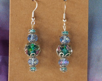 Blue/aqua and Silver Beaded Dangle Earrings / floral/ Handmade Glass and Metal Beaded Earrings / Gift for Her