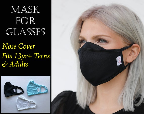 Adult & Teen Face Mask, Nose Cover | Washable Reusable Stretch Fabric Mask for Teens and Adults Glasses Wearers, Nano Fabric Face Mask Pack