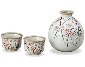 hand painted Kutani ware Sake serving set WhatsForPudding #2687 birds and flowers 2 bottles and 3 cups Japanese vintage