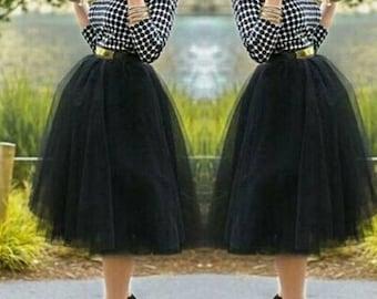 Black tulle 5 Layers Midi Tulle Skirt  women  plus size tulle skirt  tulle skirt plus size  Light  white tulle skirt bridal womens skirt